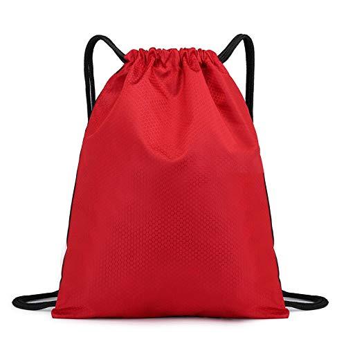Rucksack mit Kordelzug, wasserabweisend, für Reisen, Fitnessstudio, Basketball, Schuhe, für Damen und Herren, rot, Large