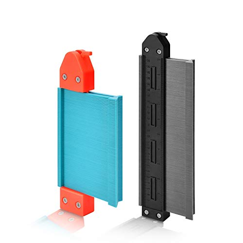 Kohree 型取りゲージ 325mm+210mm ストッパー付 曲線定規 測量工具 DIY用 (グレーと青)