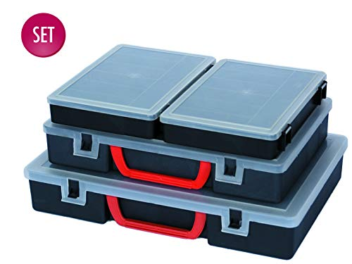 Kreher Organizer Set 4tlg. aus Kunststoff in Schwarz. Vier Größen mit unterschiedlicher Fächeraufteilung. Einsehbar, multifunktional, abwaschbar.