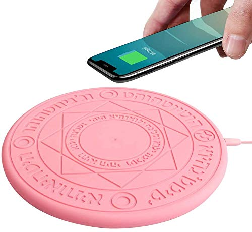 RTYU Magic Array Wireless Charger, 10w Ultra Slim Fast Charging Pad, Compatible with iPhone 11/11Pro/12Pro/ProMax 8/8 Plus/X/XS/XS MAX/XR Samsung S6/S6edge/S8/S8 Plus/S9/S9+/LG Edge More (Pink)