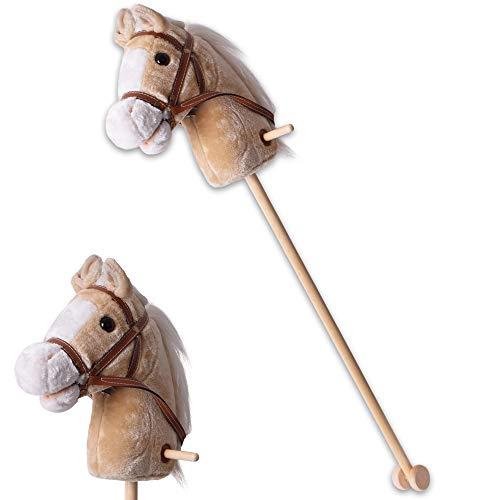 TE-Trend Steckenpferd Sound Kinder Hobby Horse Holzpferd Spielpferd Stockpferd Holz Stock Rollen 96 cm Beige