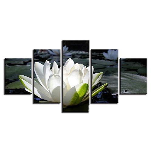 LWJPD Cuadro en Lienzo 5 Partes Cuadros del Cartel En La Lona Arte De La Pared Decoración del Hogar Modular Lotus Sala De Estar Impresión En HD Cuadros De Pintura Moderna Sin Marco 60 Inch