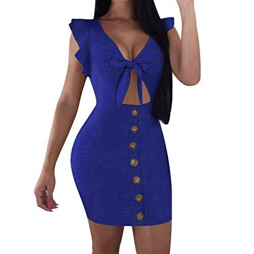 COZOCO Vestido de Mujer con Lazo en el Pecho Moda Sexy Escote en V y Camisa Estampada con Lazo Casual(Azul...