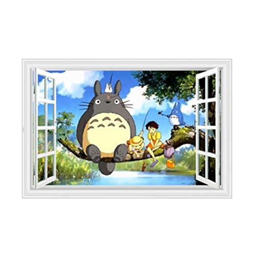 Cartoon Anime Totoro Wall Sticker 3D Stereo Window Livingroom Bedroom Wall Paper B422