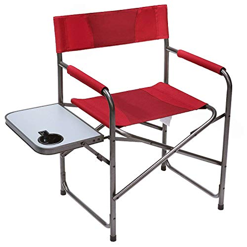 PORTAL Compact Steel Frame Folding Director's Chair Portable Camping Chair with Side Table, Supports 225 LBS, Red