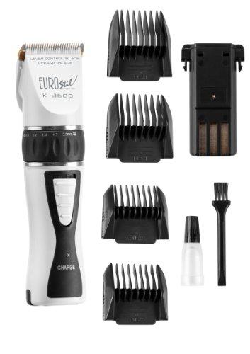 Eurostil Cortapelos K3600 Máquina corte de pelo profesional, color blanco - Cabezal cerámico, regulador de corte (0.8 a 2.0mm) - Incluye 2 baterías, 4 peines de corte, kit mantenimiento