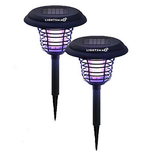 LIGHTSMAX Solar Powered Light, Mosquito and Insect Bug Zapper-LED/UV Radiation Outdoor Stake Landscape Fixture for Gardens, Pathways, and Patios (2)