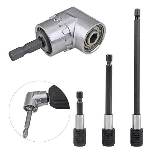TIMESETL 105°Winkelschrauber Vorsatz Adapter Magnet Bithalter Innensechskant mit 3St. 60/100/150mm 1/4