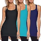 Débardeurs Femmes Longs Top Tank de Sport T-Shirt Décontracté sans Manches Elastique Mix F (Noir+Vert+Bleu Foncé) Medium