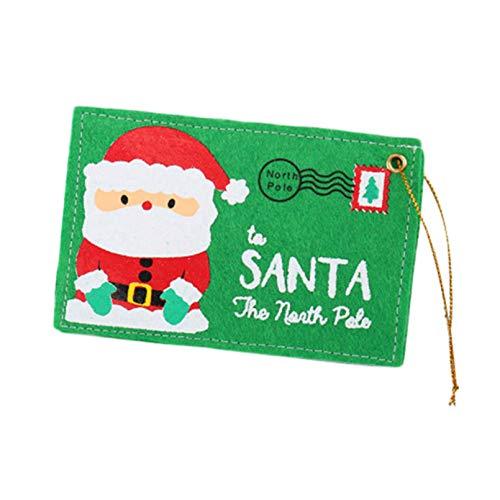 Botreelife Weihnachtsumschlag Weihnachtsbaum hängen kann Süßigkeiten Weihnachtskarte Weihnachtsdekorationen halten,Grün