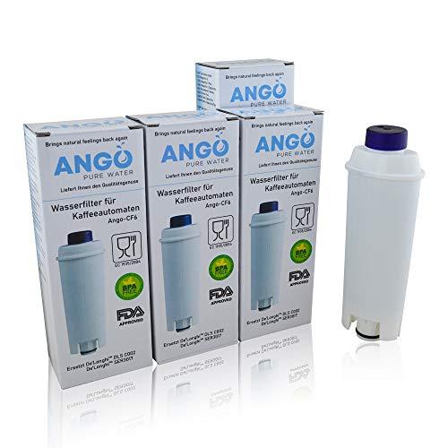 4 x wkłady filtrujące do wody wymienne DeLonghi DLS C002 / SER 3017 / kompatybilne z ekspresami do kawy ECAM, ESAM, ETAM, BCO, EC - PureWater Ango-CF6 w pełni automatyczny wkład do kawy