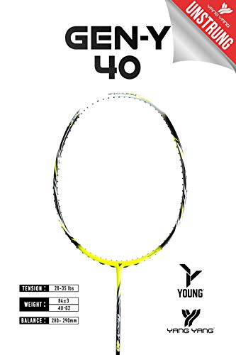 YANG-YANG Professional Series Lightweight High Modulus Graphite Badminton Racket (Vital Material for Strength&Shock Absorption reducing Muscle Injury) w/Carrying Bag (Unstrung, Intermediate: GY-40)