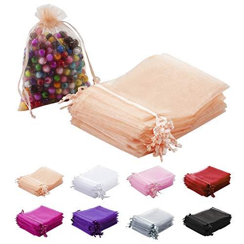 MAZYPO - 100 bolsas de organza de 10 x 12 cm, color rosa, bolsas de regalo de malla, bolsas de joyería para fiestas, baby shower, Navidad, día de San Valentín, bolsas de dulces