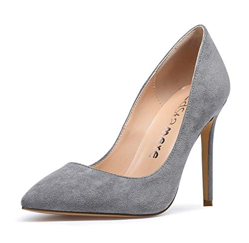 CASTAMERE Damen High Heels Spitzen Stiletto Pumps 10CM Wildleder Grau Schuhe EU 37.5