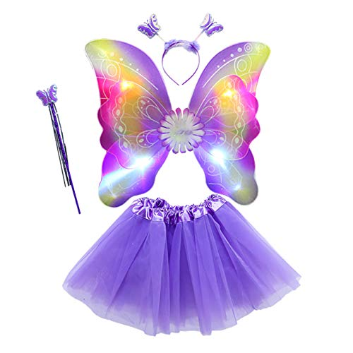 THEE Costume da Elfa o Principessina in 4 Pezzi a Forma di Ali di Farfalla con Luci LED e Bacchetta Magica Costume per Bambine in Occasione di Feste Carnevale Halloween (Z-viola)