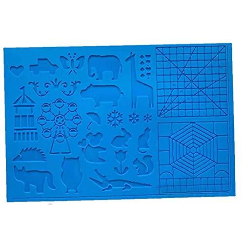 Yililay Pen-Matte, Silikon-Zeichenbrett 3D Pen Mat 3D Stift Stencils Buch 3D Stift Zeichenwerkzeug (blau)