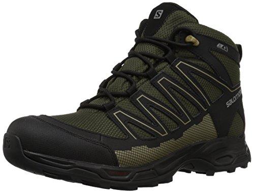Salomon Men's Pathfinder Mid ClimaSheild Waterproof Hiking Boots, Deep Depths/Black/Gothic Olive, 12 M US