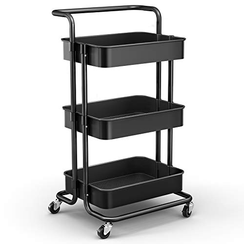 JOMARTO 3Tier Rolling Utility Cart with Handle Storage Cart Organizer with Lockable Wheels Makeup Cart Organizer Craft Art Cart MultiPurpose Trolley Cart for Kitchen Bathroom Office Black