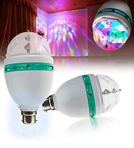 HandyTrendy®Treasure 360 Degree LED Crystal Rotating Bulb Magic Disco LED Light,LED Rotating Bulb Light Lamp for Party/Home/Diwali Decoration(multicolor)