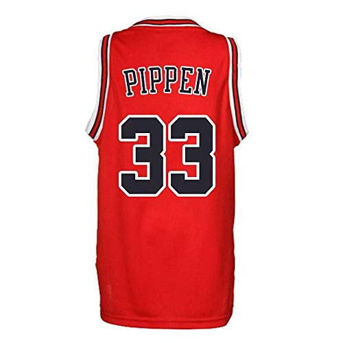 LLZYL Herren Basketball Trikot -Scottie Pippen # 33 New Fabric Stickerei Swinger Basketball Jersey Ärmelloses Trikot,Rot,XL:185cm/85~95kg