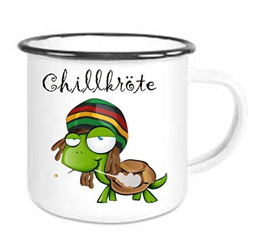 Emailtasse mit Rand Chillkröte - Kaffeetasse mit Motiv, Bedruckte Email-Tasse mit Sprüchen oder Bildern