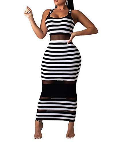 Womens Sexy Stripe Printed Mesh Sheer Sleeveless Tank See Through Bodycon Long Maxi Pencil Dress White L