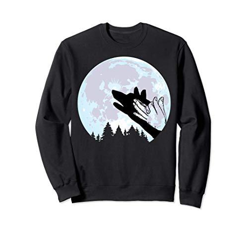 Lobo En Luna Fogata Mano Silueta Halloween Tee Sudadera