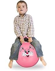 Relaxdays Springbal kinderen, haas, met handgreep, voor binnen en buiten, met diermotief, zacht, 45 cm diameter, roze
