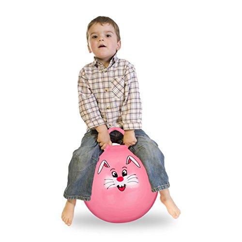 Relaxdays Bola Saltarina para Niños, Pelota Saltar Animales, Balón Infantil, 45 cm Diámetro, PVC, Rosa, color, 45 x 45 x 55 cm (10022554_52) , color/modelo surtido