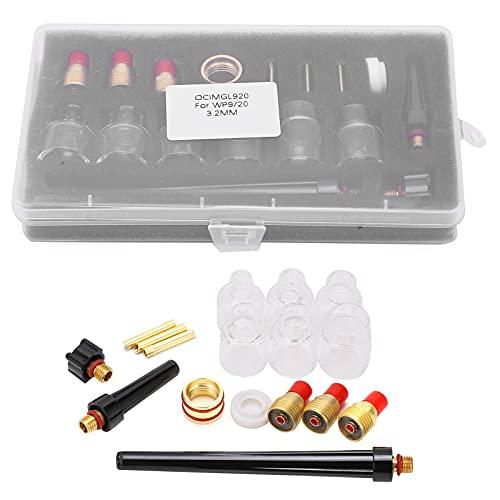 GAESHOW Kit accessori torcia per saldatura Materiali di consumo in ottone Ugello a tazza in vetro da 2 mm per WP9/20