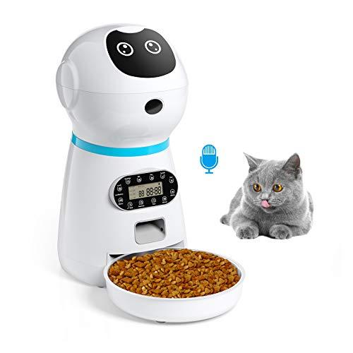 isYoung 3.5 L Automatisch Futterspender mit Futternapf aus Edelstahl für Katze und Hund - Aufnahmefunktion, Programmierbarer Timer bis zu 4 Mahlzeiten