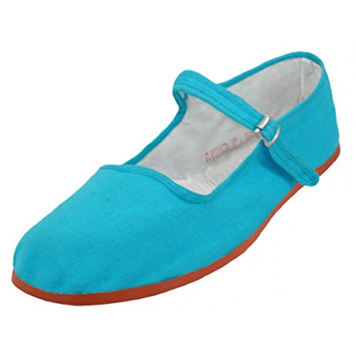Shoes 18 Womens Cotton China Doll Mary Jane Shoes Ballerina Ballet Flats Shoes 114 Turqouise 5