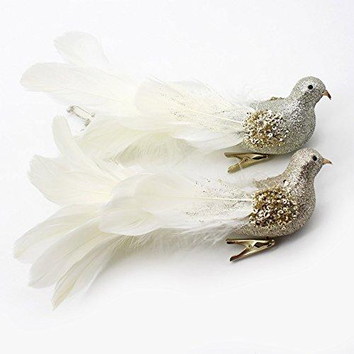 Yolococa Vögel Dekoration Realitätsnah Weihnachtsvögel zum Dekorieren Ast Garten Weihnachtsbaum Hochzeit (2 Stück)