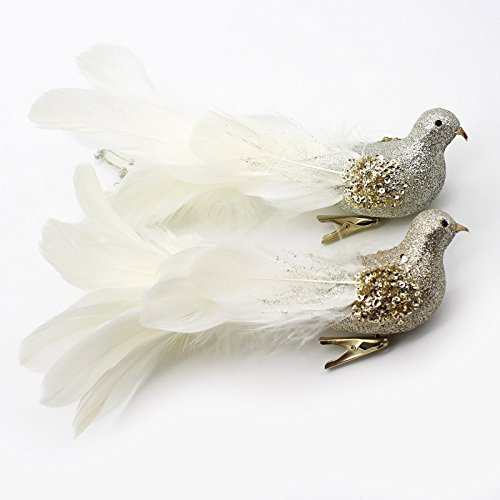 Yolococa Champagne Christmas Tree Decoration Birds,10x2x2 inches,2pcs