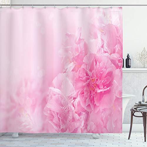 ABAKUHAUS Blasses Rosa Duschvorhang, Frühling Flora Shabby, aus Stoff inkl.12 Haken Digitaldruck Farbfest Langhaltig Bakterie Resistent, 175 x 200 cm, Baby Pink