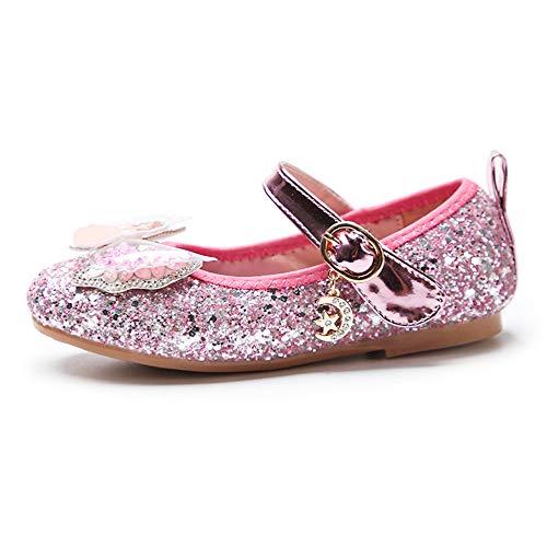 YOSICIL Zapatos de la Princesa Elsa Zapatos Bailarina con Arco para Niña Zapatos de Lentejuelas Antideslizante Zapatos de Fiesta Regalo Cumpleaños