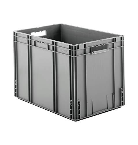 SSI Schäfer MF 6420 Eurokiste Kunststoffbox Transportbox offen ohne Deckel, 600x400 mm, 82,9 l, 30 Kg Tragkraft, Made in Germany, Grau