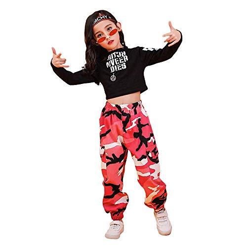Tasty Life Traje Deportivo Para Niña, Top Con Estampado De Letras, Pantalones De Camuflaje Para Correr, Ropa De Calle De Moda Para Niños,Hip-hop Dance Jazz Pop Dance Clothing(110cm,Pink)