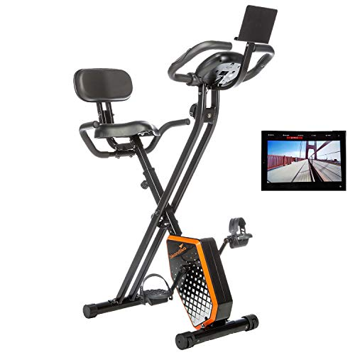 skandika Foldaway X-1000 Plus Fitnessbike Heimtrainer X-Bike F-Bike mit Handpuls-Sensoren, Bluetooth Computer, Tablet-Halterung, Rückenlehne (schwarz/orange)