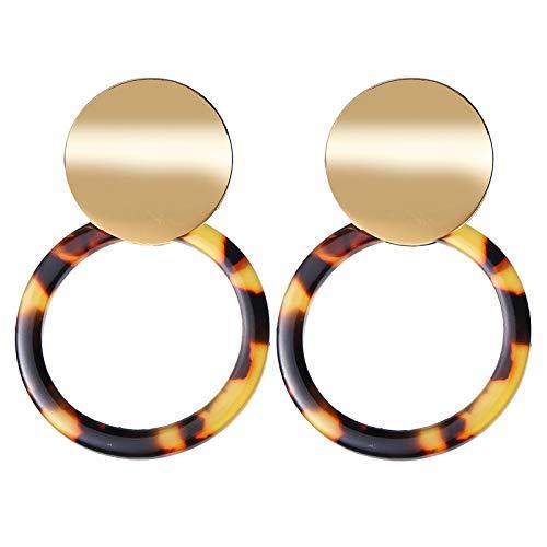 QYMX Orecchino Donna, Orecchini Vintage per Donna Colore Oro Orecchini Leopard Orecchini in Metallo Orecchini a Bottone Gioielli di Moda alla Moda