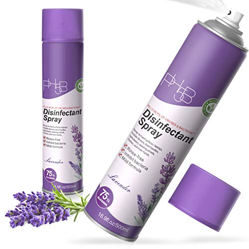 PH5B Disinfectant Spray Fresh Lavender Scent- 75% Ethyl Alcohol 16.9oz/ 500ml (2 Pack)