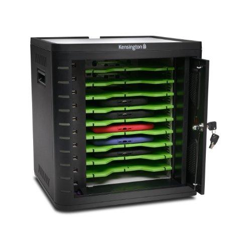 Kensington K67862EU - Armario de Carga y Sincronización para Tabletas de Alta Seguridad con Espacio para hasta 10 Tabletas, Puerta Escamoteable Antisabotajes y Ventilador de Refrigeración