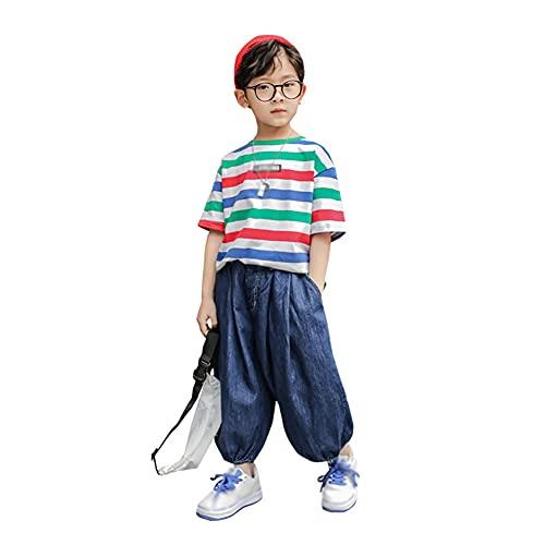 ZRFNFMA Ropa de Verano de Chicos Bloombers Ancho Ropa Infantil Denim Estilo Pantalones Grandes Infantiles Verano, Delgado Pantalones Cortos Azul-140cm