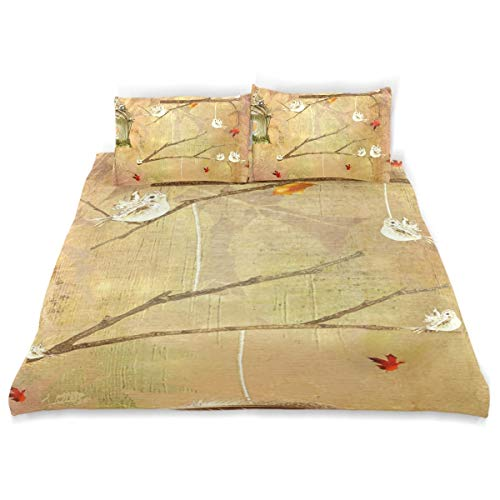 FANTAZIO Bird House With Autumn Leaves Kids Duvet Cover Set Breathable Twin Size Cover 3 Piece Bedding Set Standard Size Pillow Cover for Children Teens