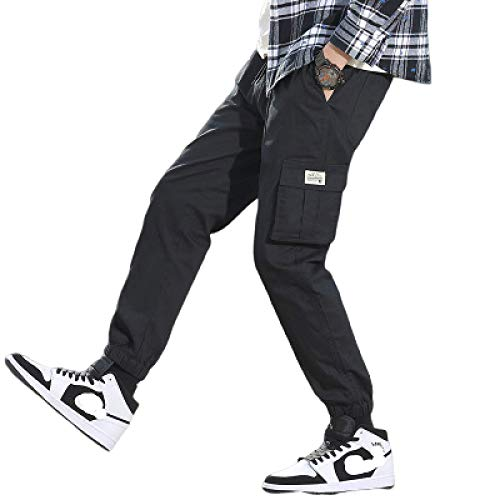 Pantalones Harem con cordn para Hombre Pantalones de Carga Holgados Informales Retro hasta el Tobillo de Color Liso Afilados con mltiples Bolsillos 3X-Large