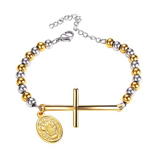 FaithHeart Cruz Medalla Sagrada San Benito Pulsera Religiosa Acero Inoxidable Cadena Dos Tonos Joyería Católica Caja Regalo Unisex Hombre Mujer Brazalete Ajustable