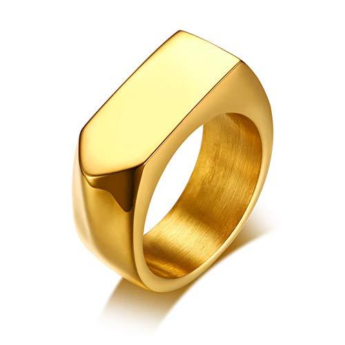ERDING Unisex/Verlobungsring/Freundschaftsring/9mm Flat-Top kostenlose Gravur personalisierte Ring für Männer angepasst Name Worte Edelstahl männlichen Schmuck Gold Col