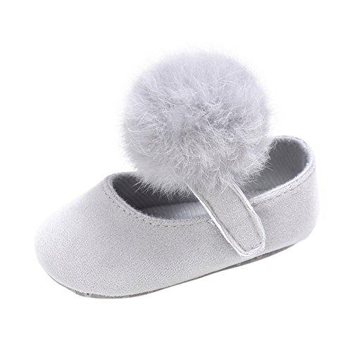 Weixinbuy Toddler Baby Girl Soft Sole Mary Jane Shoes Prewalker with Pom Pom