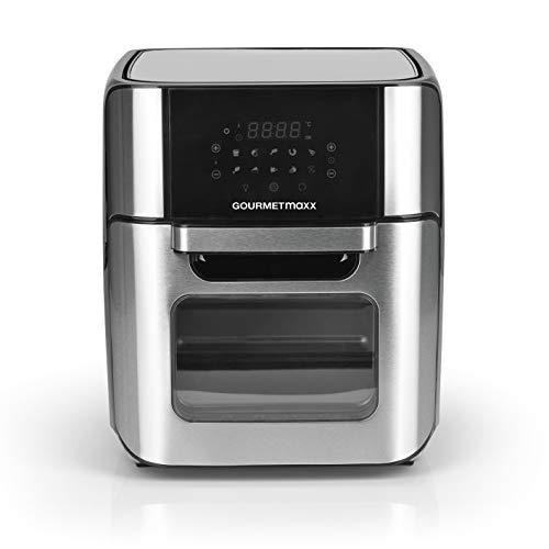 GOURTMETmaxx Digitale XXL Heißluftfritteuse 12 Liter | Frittieren ohne Fett, Zubehör ist spülmaschinengeeignet | Edelstahl Design, 10 Programme und Timerfunktion [1.800 Watt]