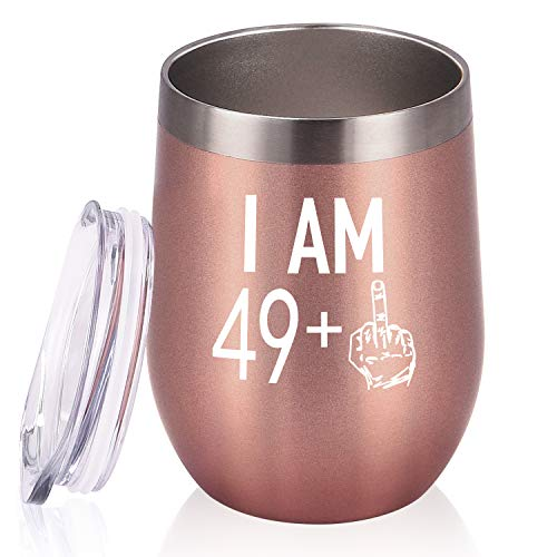 49 Plus One Middle Finger Wine Tumbler 50th Birthday Gifts for Women, Turning 50 Funny Tumbler Gifts Idea for Best Friends Wife Mom Coworkers, 12 Oz Insulated Tumbler Glasses, Rose Gold